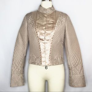 Elie Tahari Gold Silk Quilted Embroidered Jacket M
